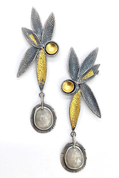 Gray Sapphire Petal Earrings
