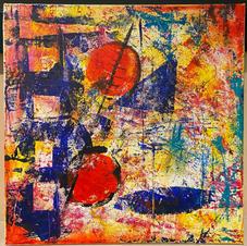 Monoprint on canvas (acrylic) 12X12