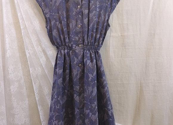 灰藍葉紋入膊連身裙