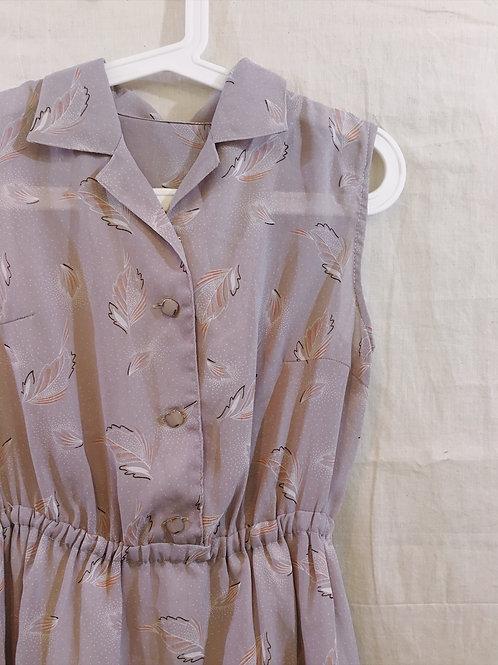 灰粉飄葉連身裙