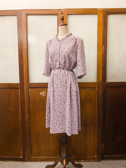 淡紫ruffle領短袖連身裙