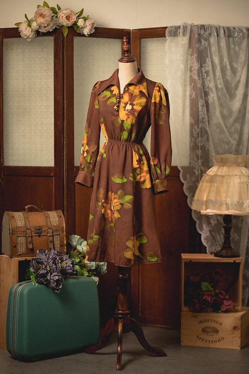 棕色水彩大花長袖連身裙