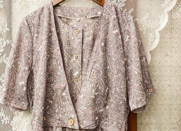 粉紫腰果花假外套短袖連身裙
