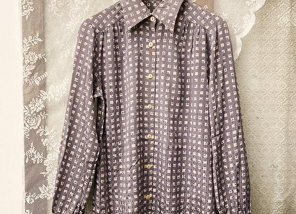 灰粉格紋長袖裇
