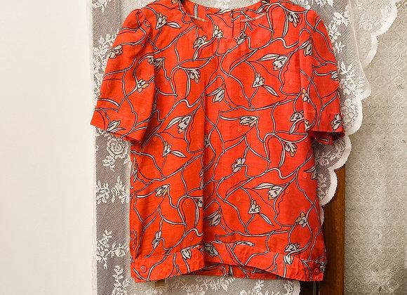 大紅花卉圓領短袖花恤