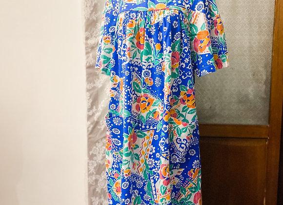 彩藍大花娃娃裙
