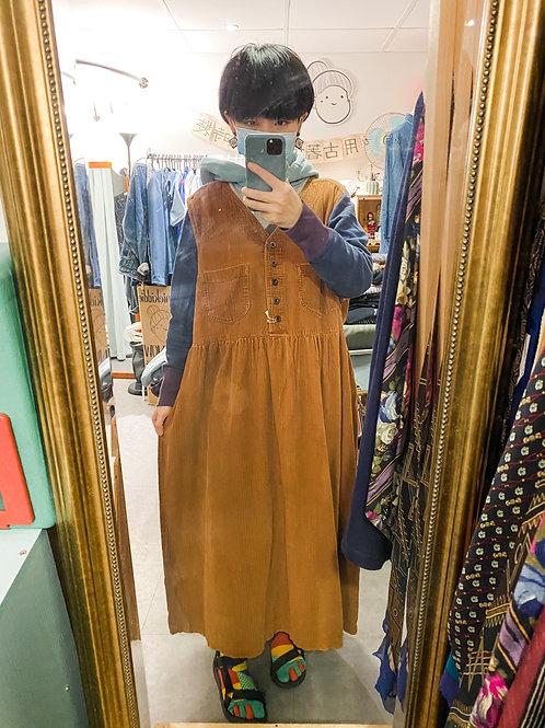 橙啡登芯絨背心長裙