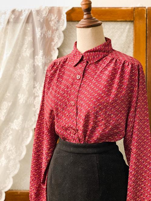 棗紅斜紋長袖上衣