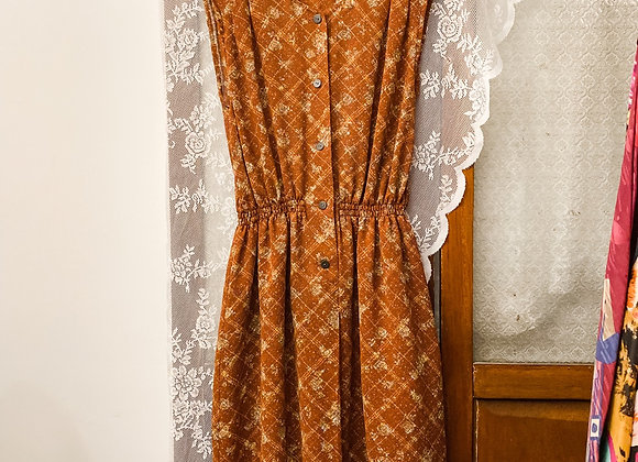橙啡格紋暗花背心連身裙