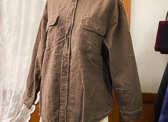 深啡絨面長袖上衣