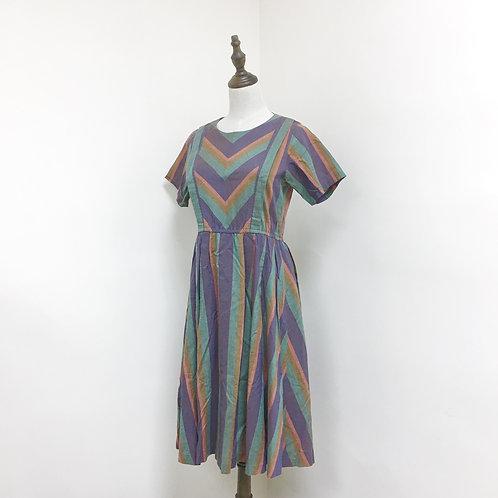 紫綠直間短袖連身裙