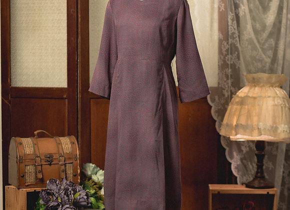 灰紅皮紋長袖連身裙