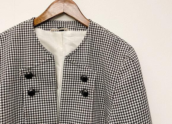 黑白棉布格紋西裝外套