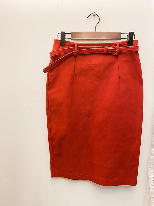 酒紅絨面窄身裙