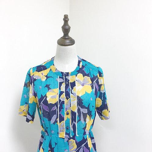 藍綠黃花連身裙