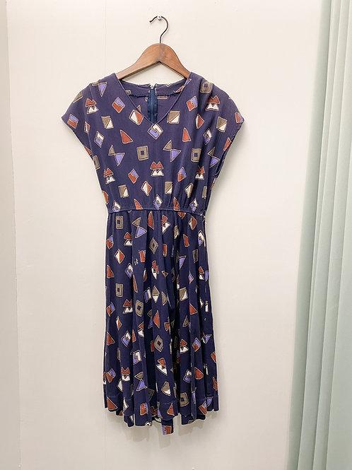 紫藍矩形入膊連身裙