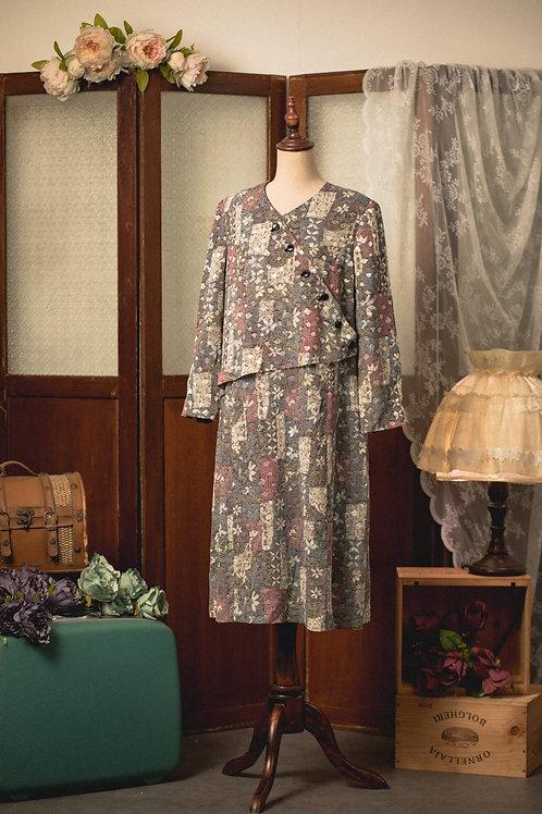 SOGO斜襟和風花長袖連身裙