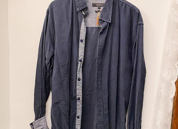 灰藍薄登芯絨長袖裇