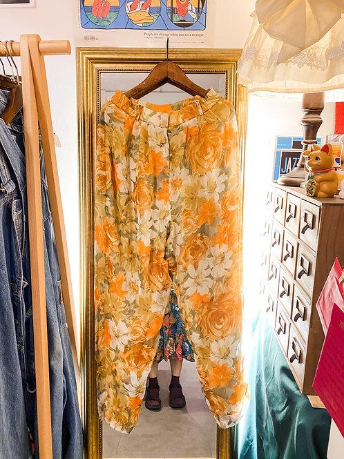 橙黃牡丹絲質直腳褲