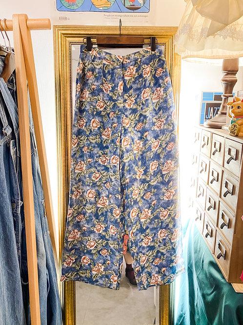 藍玫瑰絲質闊腳褲