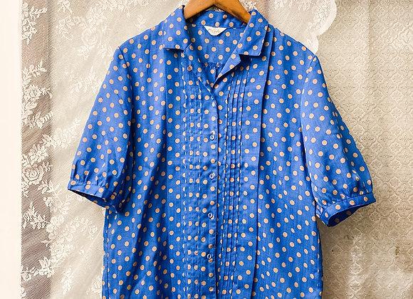 彩藍波點短袖上衣