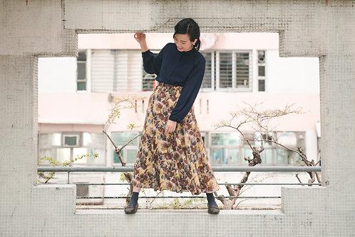 琥珀黃水彩花瓣傘裙
