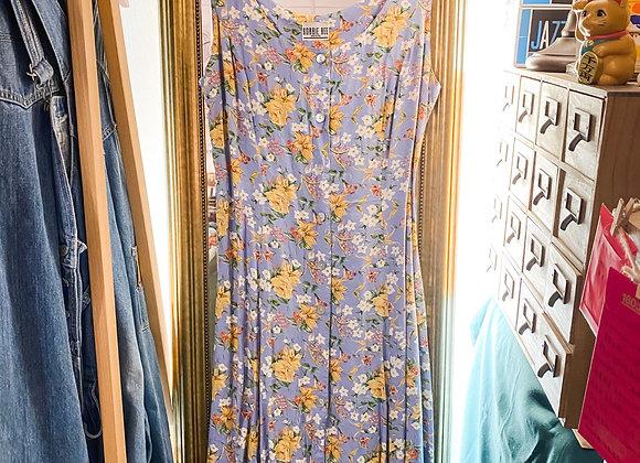 蔚藍花紋背心連身裙