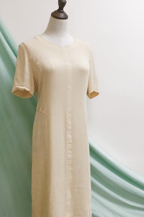 麻米小v領短袖連身裙