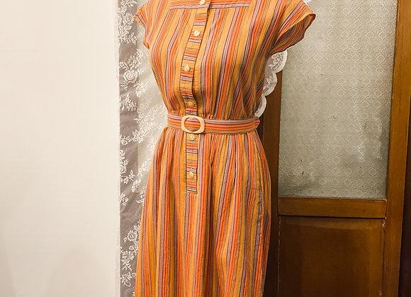 橙啡條紋入膊連身裙