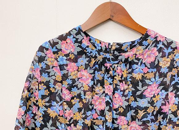 黑粉藍花短袖連身裙