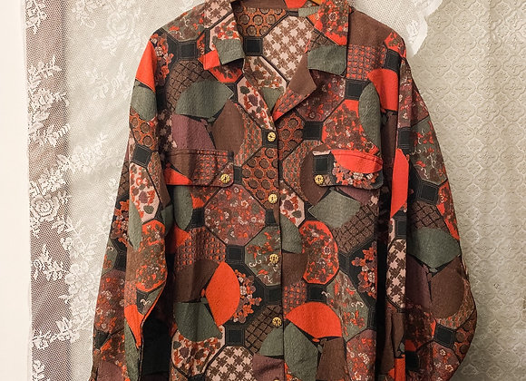啡紅和風磚紋長袖裇