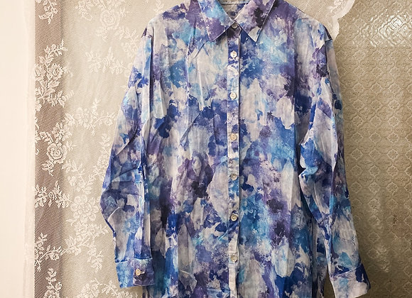 紫藍水彩長袖裇