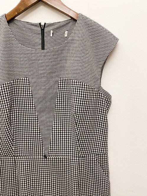黑白格紋拼布背心連身裙