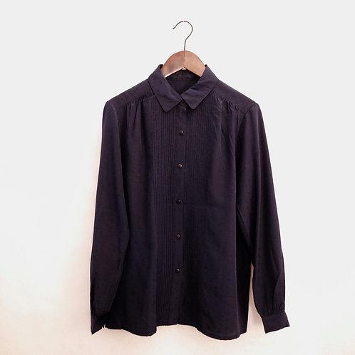 深藍壓紋長袖裇