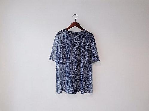 深藍葉紋薄紗短袖上衣