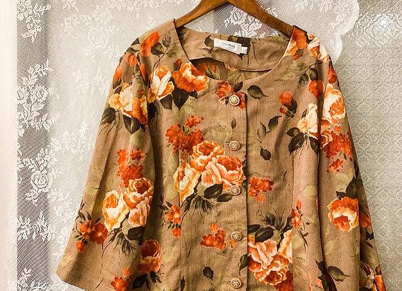 杏色牡丹圓領長袖外衣