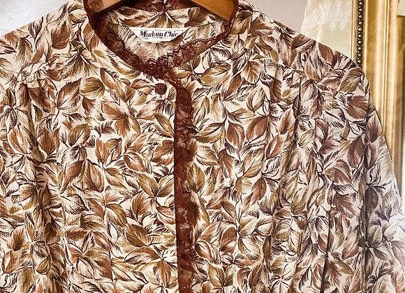 棕啡葉紋喱士領短袖連身裙