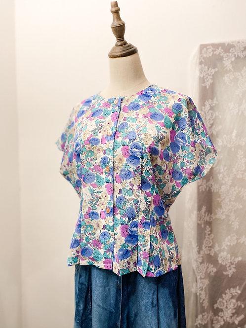紫藍水彩花短袖上衣