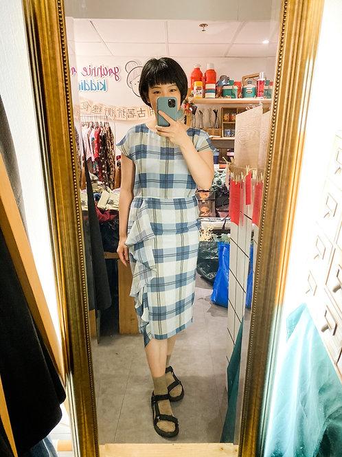 淺藍方格入膊連身裙