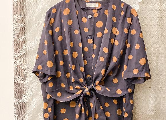 紫灰橙波點短袖上衣