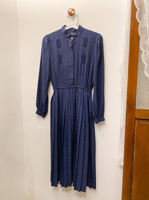 深藍暗紋企領長袖連身裙