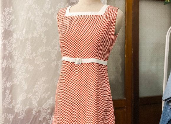紅白格紋背心連身裙