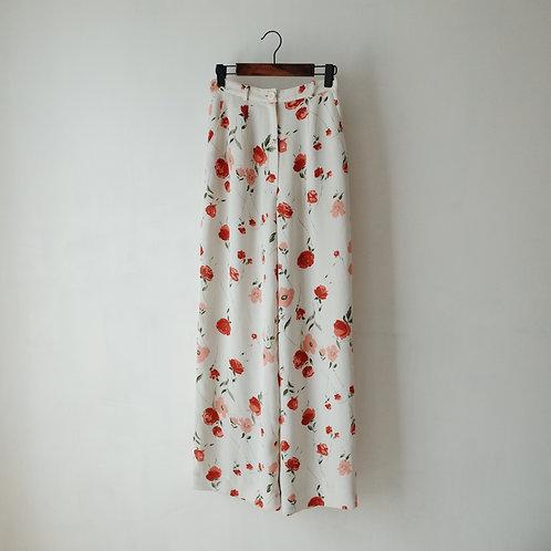 白橙花闊腳長褲
