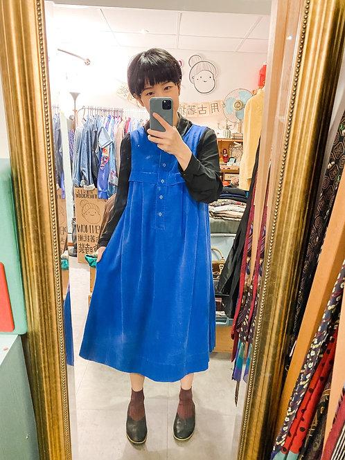 彩藍登芯絨背心長裙