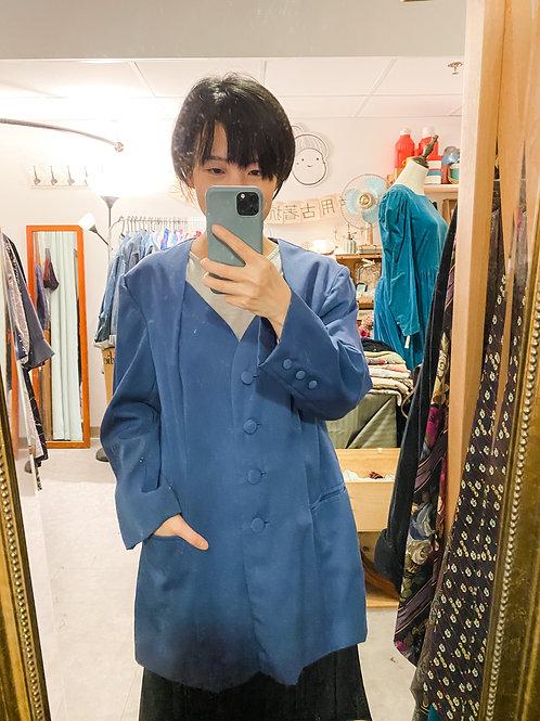 蔚藍修腰西裝長外套