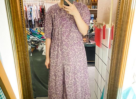 淺紫方領葉紋連身裙
