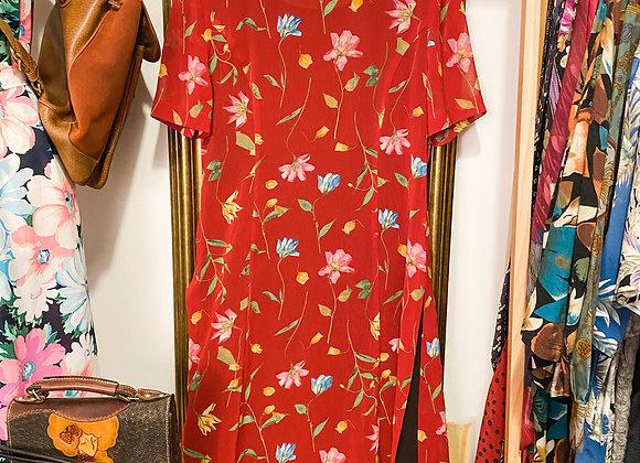 大紅彩花短袖連身裙