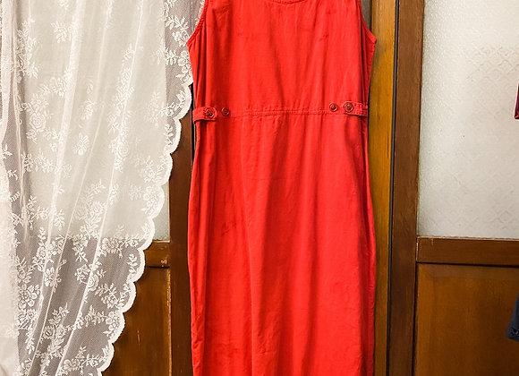 鮮紅背心連身長裙