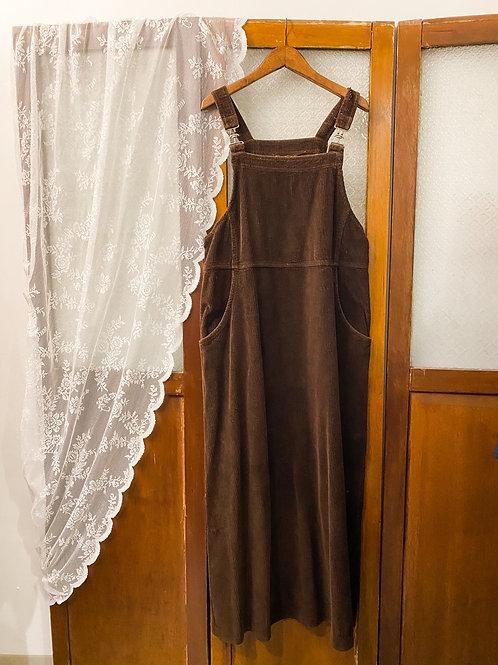 啡色登芯絨吊帶連身裙