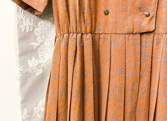 橙灰暗紋短袖連身裙